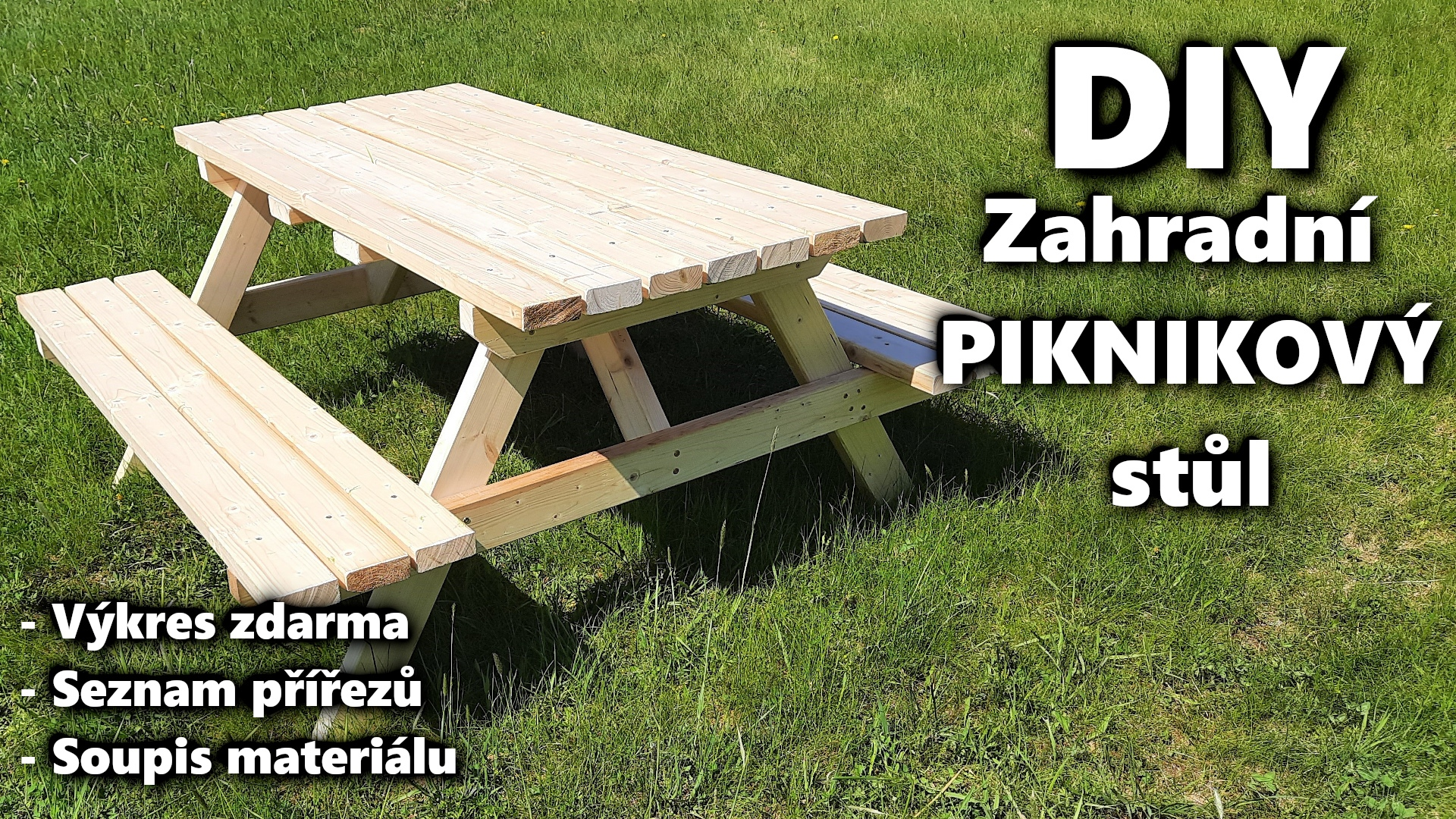 DIY zahradní piknikový stůl pivni set
